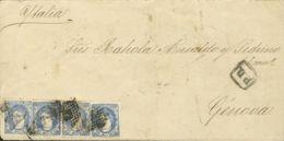 España. Gobierno Provisional. Sobre 107(4). 1871. 50 Mils Azul, Cuatro Sellos. BARCELONA A GENOVA. MAGNIFICA Y RARA COMB - 1868-70 Gobierno Provisional