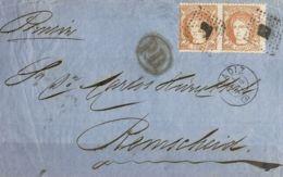 España. Gobierno Provisional. Sobre 113(2). 1871. 12 Cuartos Castaño, Pareja. Frontal De CADIZ A REMSCHEID (PRUSIA). MAG - 1868-70 Gobierno Provisional