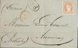 España. Gobierno Provisional. Sobre 113. 1872. 12 Cuartos Castaño (sin Inutilizar). HARO A ALMONAY (FRANCIA). MAGNIFICA - 1868-70 Gobierno Provisional