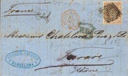 España. Gobierno Provisional. Sobre 113. 1872. 12 Cuartos Castaño. BARCELONA A TARARE (FRANCIA). MAGNIFICA. - 1868-70 Gobierno Provisional