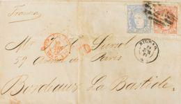 España. Gobierno Provisional. Sobre 107, 108. 1872. 50 Mils Y 100 Mils. BILBAO A BURDEOS (FRANCIA). MAGNIFICA Y RARA COM - 1868-70 Gobierno Provisional