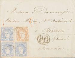 España. Gobierno Provisional. Sobre 107(3), 113. 1870. 50 Mils Azul, Bloque De Tres Sellos Y 12 Cuartos Castaño. Dirigid - 1868-70 Gobierno Provisional