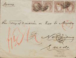 España. Gobierno Provisional. Sobre 109(4). 1870. 200 Mils Castaño, Cuatro Sellos. MADRID A NORRKOPING (SUECIA). MAGNIFI - 1868-70 Gobierno Provisional