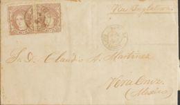 España. Gobierno Provisional. Sobre 109(2). 1870. 200 Mils Castaño, Dos Sellos. RAMALES (SANTANDER) A VERACRUZ (MEXICO). - 1868-70 Gobierno Provisional