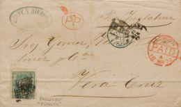España. Gobierno Provisional. Sobre 110. 1872. 400 Mils Verde. BARCELONA A VERACRUZ (MEXICO), Circulada Vía Inglaterra. - 1868-70 Gobierno Provisional