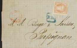 """España. Gobierno Provisional. Sobre 113. 1870. 12 Cuartos Castaño. BARCELONA A PERPIGNAN. Matasello """"P.D."""", De Portes De - 1868-70 Gobierno Provisional"""