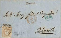 España. Gobierno Provisional. Sobre 113. 1870. 12 Cuartos Castaño. BARCELONA A THIBERVILLE (FRANCIA). Matasello PARRILLA - 1868-70 Gobierno Provisional