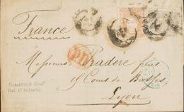 España. Gobierno Provisional. Sobre 106, 113. 1870. 25 Mils Lila Gris Y 12 Cuartos Castaño. MADRID A LYON (FRANCIA). MAG - 1868-70 Gobierno Provisional