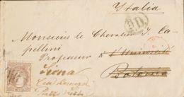 España. Gobierno Provisional. Sobre 109. 1870. 200 Mils Castaño. MADRID A BOLONIA (ITALIA), Reexpedida A SIENA. Tarifa D - 1868-70 Gobierno Provisional