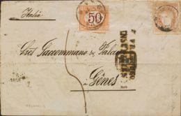 España. Gobierno Provisional. Sobre 113. 1871. 12 Cuartos Castaño. VALENCIA A GENOVA (ITALIA). En El Frente Marca FRANQU - 1868-70 Gobierno Provisional