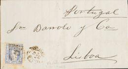España. Gobierno Provisional. Sobre 107. 1872. 50 Mils Ultramar. CASTILLEJOS (HUELVA) A LISBOA (PORTUGAL), Circulada Vía - 1868-70 Gobierno Provisional