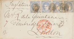 España. Gobierno Provisional. Sobre 107(4). 1872. 50 Mils Ultramar, Tira De Cuatro Sellos. MADRID A LONDRES (INGLATERRA) - 1868-70 Gobierno Provisional