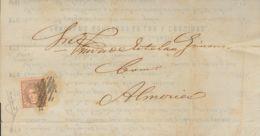 España. Gobierno Provisional. Sobre . 1872. 1 Mils Violeta. Impreso De MADRID A ALMERIA. MAGNIFICO. - 1868-70 Gobierno Provisional