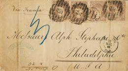 España. Gobierno Provisional. Sobre 109(4). 1870. 200 Mils Castaño, Cuatro Sellos. CADIZ A PHILADELFIA (U.S.A.). MAGNIFI - 1868-70 Gobierno Provisional