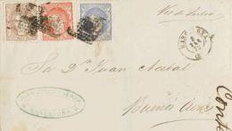 España. Gobierno Provisional. Gobierno Provisional. MAGNIFICO FRANQUEO TRICOLOR. - 1868-70 Gobierno Provisional