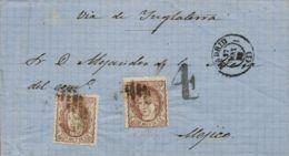 España. Gobierno Provisional. Sobre 109(2). 1872. 200 Mils Castaño, Dos Sellos. MADRID A MEXICO. Circulada Vía Inglaterr - 1868-70 Gobierno Provisional