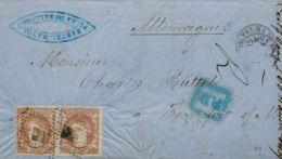 España. Gobierno Provisional. Sobre 113(2). 1871. 12 Cuartos Castaño, Pareja. PALMA DE MALLORCA A FRANKFURT (ALEMANIA). - 1868-70 Gobierno Provisional