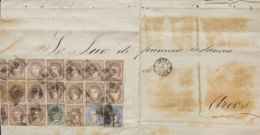 España. Gobierno Provisional. Sobre 107(2), 109(15), 110. (1870ca). 50 Mils Ultramar, Dos Sellos, 200 Mils Castaño, Quin - 1868-70 Gobierno Provisional