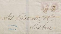 España. Gobierno Provisional. Sobre 106(2). 1872. 25 Mils Lila, Pareja. SEVILLA A LISBOA (PORTUGAL). MAGNIFICA E INUSUAL - 1868-70 Gobierno Provisional