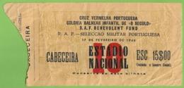Lisboa - Bilhete De 1946 - Estadio - Ticket - Billet - Futebol - Militar - Football - Stadium - Portugal - Tickets - Entradas