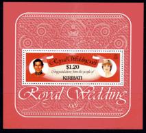 Kiribati 1981 Royal Wedding MS, MNH, SG 155 (BP2) - Kiribati (1979-...)
