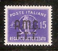 (Fb).Trieste.Zona A.1949.Recapito Autorizzato.15 Lire Violetto Nuovo,centratissimo (67-16) - Nuovi