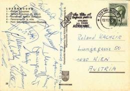 """Autogramme Der Spieler """"Unter 23 Team"""" Österreich, Auf Ansichtskarte LUXEMBOURG, Ville D'Europe - Esch-Alzette"""