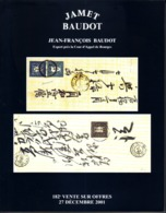 France Catalogue Vente JAMET-BAUDOT N° 182 Décembre 2001 Comme Neuf ! - Cataloghi Di Case D'aste