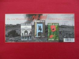 Planche De Timbres Neufs - Belgique -  1918-2008 - La 1ère Guerre Mondiale - Foglietti