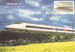 CARTE MAXIMUM FERFILEX 87 TRAIN SNCF TGV POSTAL LA POSTE Réf Yvert & Tellier N° 2334 - Photo Bruno Vignal - 1980-89