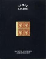 France Catalogue Vente JAMET-BAUDOT N° 180 Décembre 2000 Comme Neuf ! - Cataloghi Di Case D'aste