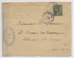 1917 - ENVELOPPE Avec CONVOYEUR MEAUX à LA FERTE MILON (SEINE ET MARNE) + CENSURE => VILLENEUVE ST GEORGES - Guerre De 1914-18