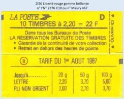 FRANCE - Carnet Conf. 8 - 2f20 Liberté Rouge - YT 2376 C10 / Maury 467 - Usage Courant