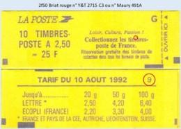 FRANCE - Carnet Conf. 9 - 2f50 Briat Rouge - YT 2715 C3 / Maury 491A - Postzegelboekjes