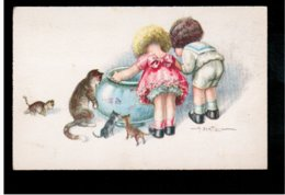 Illustr. A BERTIGLIA Children Ca 1920  Old Postcard - Bertiglia, A.