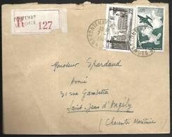 LF D22  Enveloppe De 1949 Timbres N°778, PA N°16 En Recommandé - Marcofilie (Brieven)