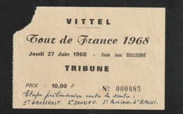 Sport Ticket Entrée TOUR DE FRANCE Vélo VITTEL 1968 1er Grosskost , 2ème Jansen  Ti10 - Tickets - Entradas