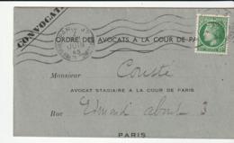 Lettre Avec Type Cérès De Mazelin , N°675 , Seul Sur Lettre , Cote :15e , 1945 - France