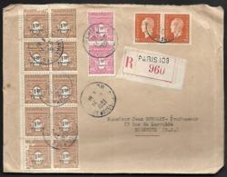 LF D23  Enveloppe De 1951 De Paris Timbres N°625x2, 700x2, 707x10, En Recommandé - 1921-1960: Période Moderne
