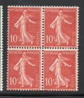 BLOC DE 4 SEMEUSE YT 135  NEUF AVEC CHARNIERE - 1906-38 Semeuse Con Cameo