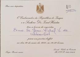 Invitation Ambassadeur De La République De L'Iraq. - Documents Historiques