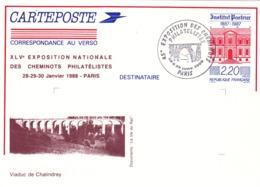 ENTIER POSTAL FERROVIAIRE De 1988 - VIADUC De CHALINDREY (52) Haute Marne - Entiers Postaux