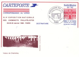 ENTIER POSTAL FERROVIAIRE De 1988 - VIADUC De CHALINDREY (52) Haute Marne - Cartoline Postali Ristampe (ante 1955)