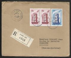 LF D27 Enveloppede 1956 De Paris Timbres N°1076x2, 1077 - Poststempel (Briefe)