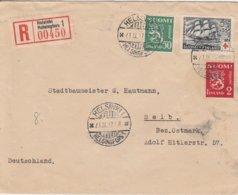 Finlande Lettre Recommandée Pour L'Allemagne 1937 - Finland