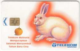 MALAYSIA A-691 Chip Telekom - Painting, Animal, Year Of Rabbit - Used - Malaysia