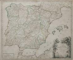 España. Bibliografía. 1757. Mapa De Rutas Postales LES ROUTES DES POSTES D'ESPAGNE ET DE PORTUGAL. París, 1757. Robert D - Sin Clasificación