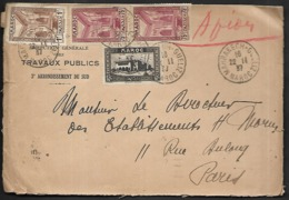 LC-116   Lettre Du Maroc De 1937 Timbres N°133, 141x2, 143 - Morocco (1891-1956)
