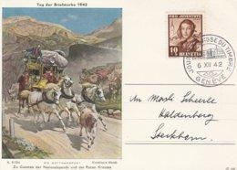 Suisse Carte Journée Du Timbre Genève 1942 - Marcophilie