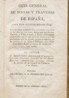 España. Bibliografía. 1804. GUIA GENERAL DE POSTAS Y TRAVESIAS DE ESPAÑA. Por Bernardo Espinalt. Madrid, 1804. MAGNIFICA - Sellos
